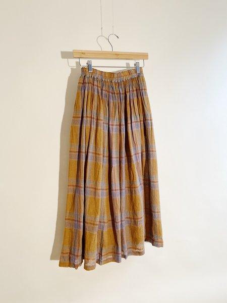 ICHI ANTIQUITES Linen Voile Madras Check Over-Dye Skirt