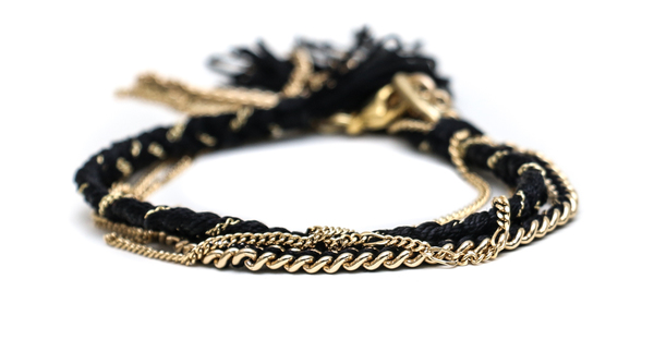 Alyssa Norton Double Braid and Double Chain Drape Bracelet in Black and Gold