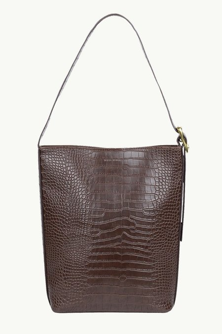 BRIE LEON Everyday Slouch Bucket Bag Croc - Chocolate Matte
