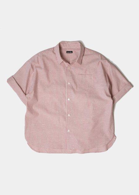 Steven Alan Hudson Short Sleeve Shirt - Brick Slub Stripe