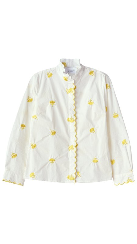 THE SHIRT BY ROCHELLE BEHRENS Icon Scallop Embroidery Shirt - Lemons