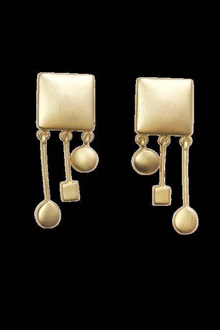 Vintage Modernist Geometric Clip-On Earrings