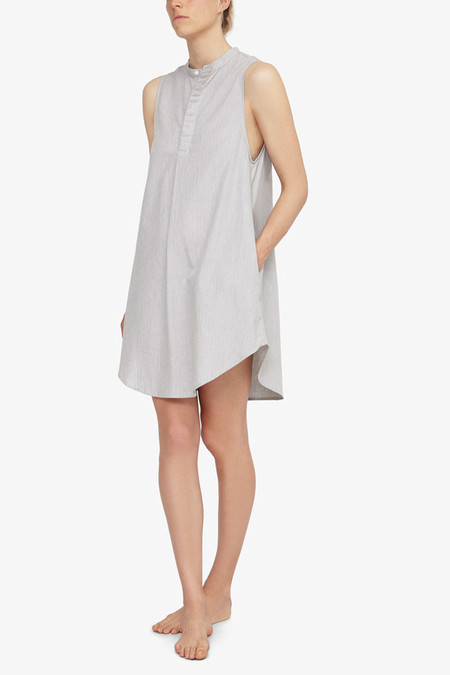 The Sleep Shirt Sleeveless Sleep Shirt Grey Herringbone