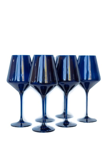 Estelle Colored Glass Wine Glasses - Midnight Blue