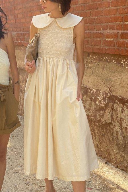 En Saison Peter Pan Collar Smocked Dress - Cream
