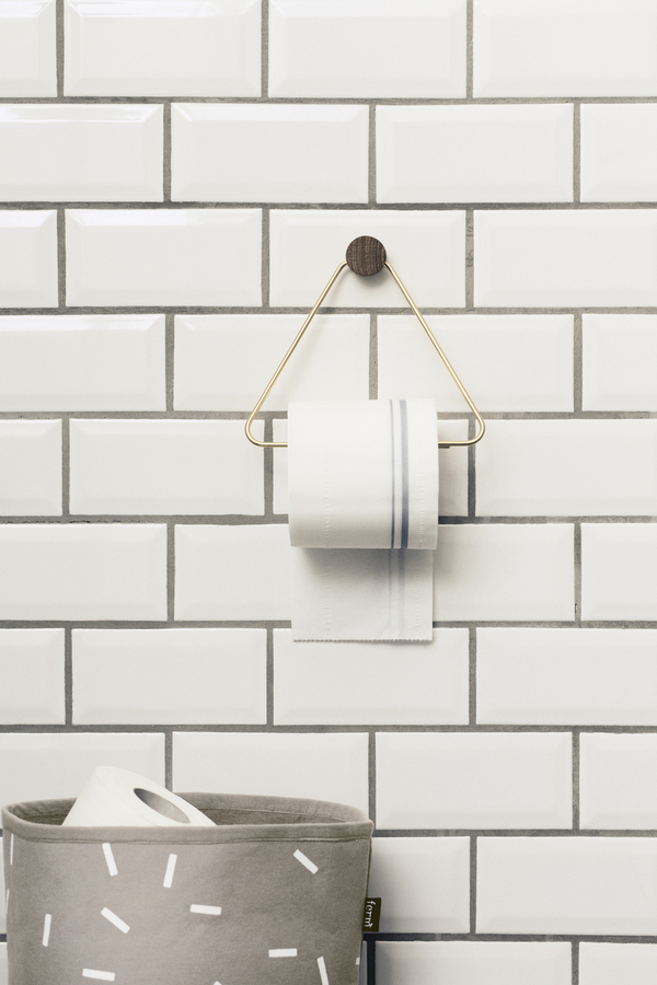 Ferm Living Brass And Oak Toilet Paper Holder
