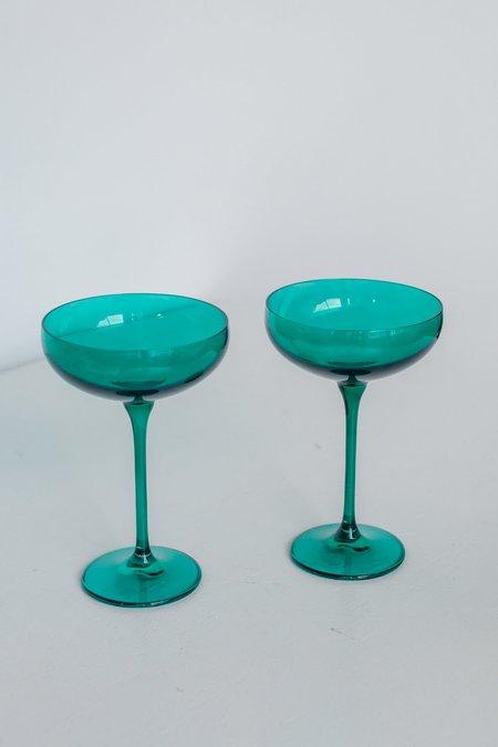 Estelle Colored Glass Coupe Glasses - Emerald Green