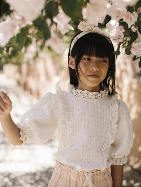 Kids Liilu Organics Bloom Stella Blouse - Milk