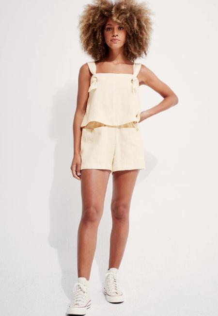 Back Beat Co. Linen Boxer Shorts - Creme