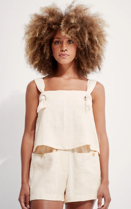 Back Beat Co. Linen Knotted Cami - Creme