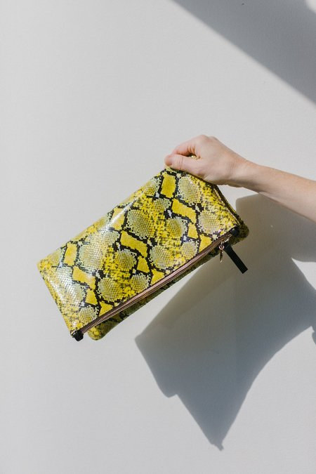 Clare V. Foldover Tab Clutch - Yellow Mini Snake