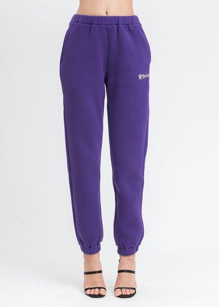 Danielle Guizio Floral Logo Sweater Pants - Purple