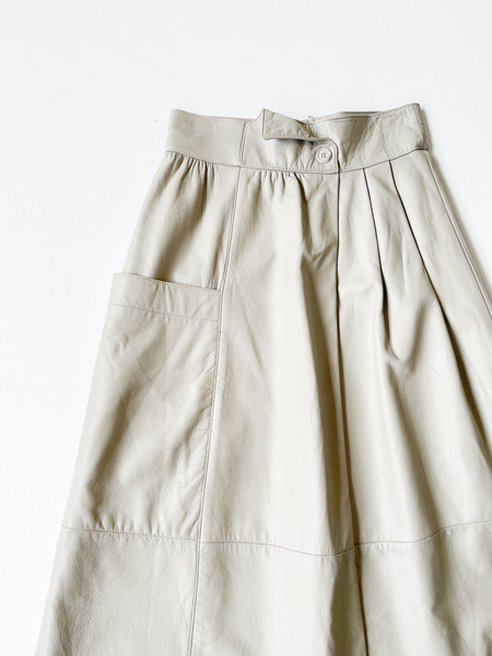 Vintage Leather Skirt - Taupe Grey