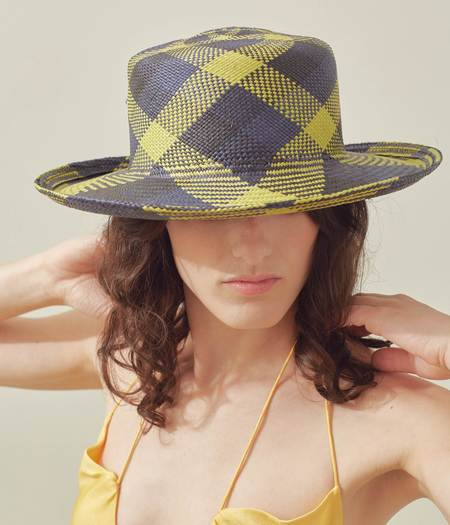 Clyde Saturna Panama Straw Hat - Green/Black Plaid