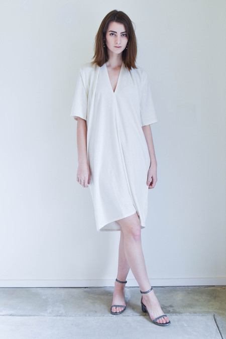 Miranda Bennett Miranda Bennet Muse Dress In Natural Silk Noil