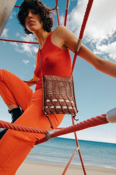 Trena Woven Leather Crossbody - Chestnut