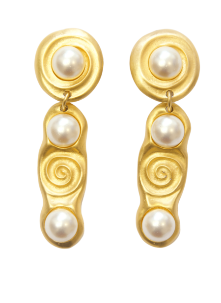 Vintage Satin Faux Pearls Cabochon Clip-On Earrings