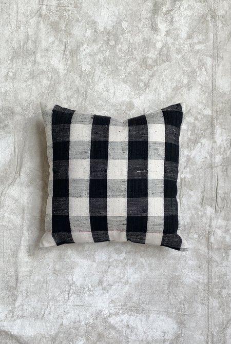Gingham Kilim Throw Pillow - Black and White