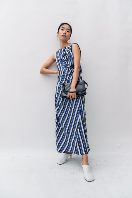 [Pre-loved] Zero Maria Cornejo Striped Gathered Midi Dress - Blue/White