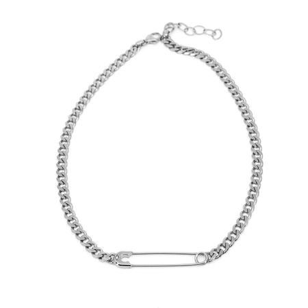 Godfrey and Rose Large Safety Pin Necklace - Sterling/White Sapphire