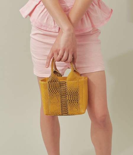 Clyde  Snack Bag - Burnt Yellow Python Effect