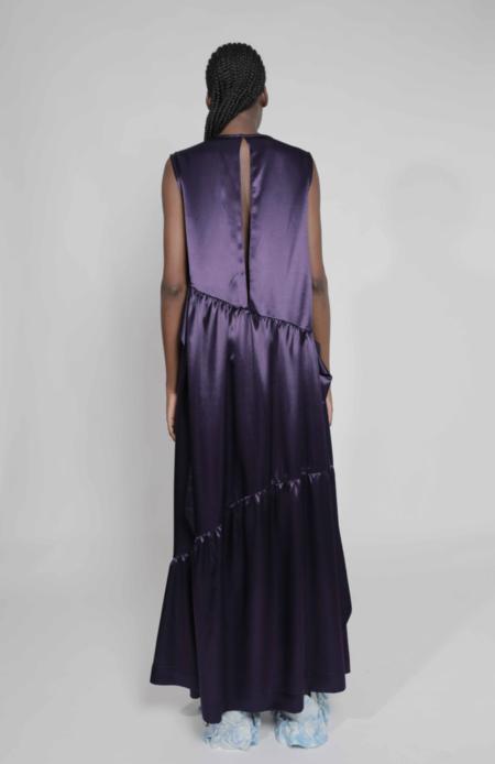 Collina Strada Bow Ritual Dress - Purple Satin