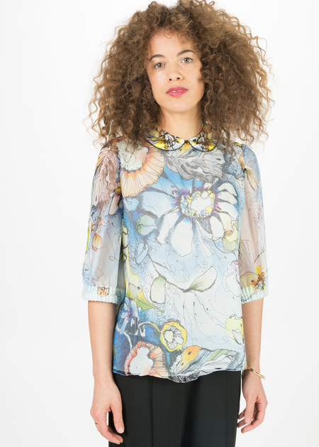 Amelia Toro Silk Organza Flower Top