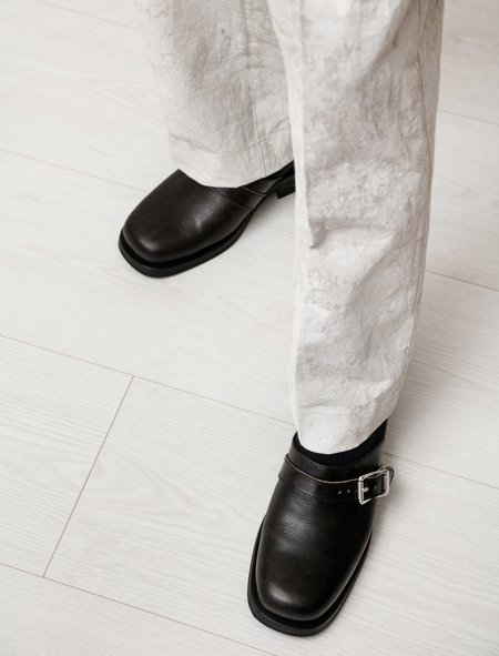 Our Legacy Camion Worn Leather Mule - Black