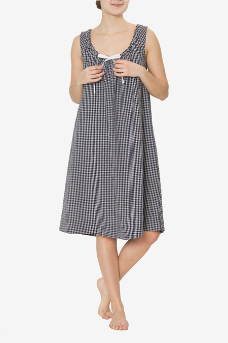 The Sleep Shirt Sleeveless Nightie Black Check