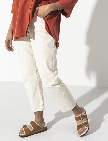 Unisex Birkenstock Arizona Shearling Narrow Sandals - Mink