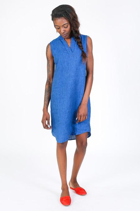 Nuthatch Sleeveless Mandarin Collar Shirtdress in Blue