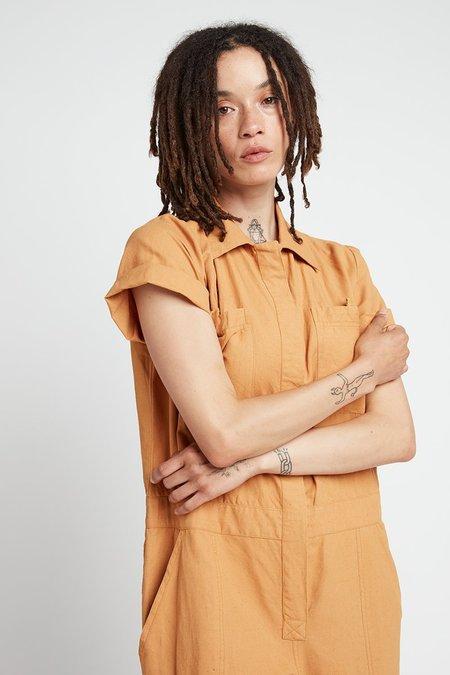 Back Beat Co. Naturally Dyed Linen Boiler Suit - Saffron Wash