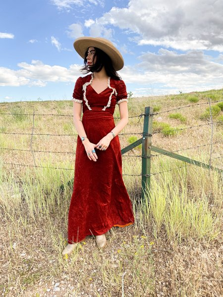 Vintage PICKIN' PRAIRIE DRESS - CHERRY