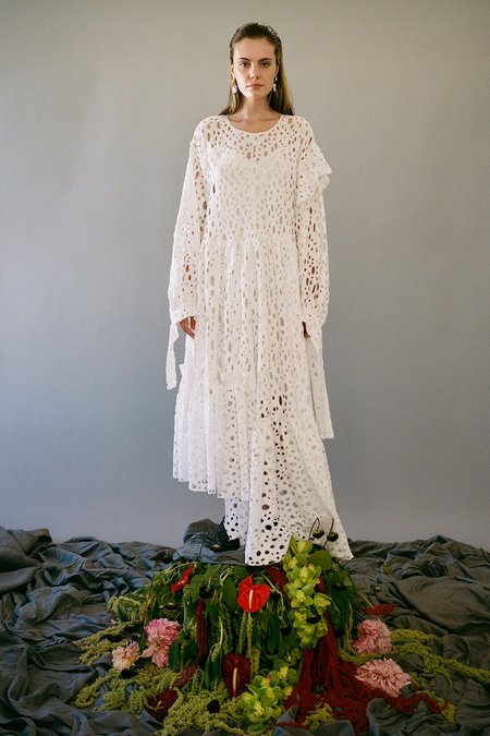 KkCo Nine Twenty-Seven Swiss Cheese Lace Dress - Frosted Pearl