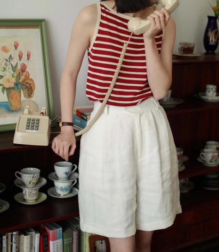 OPUSION Sleeveless Striped Knitted Top