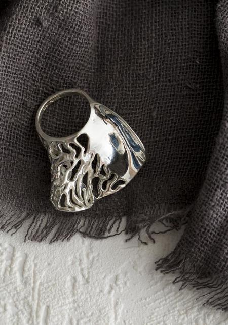 Tego Organic Bold Rose Petal Ring - Sterling Silver