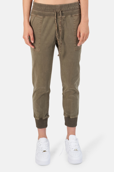 James Perse Mixed Media Pants - Army Green Pigment