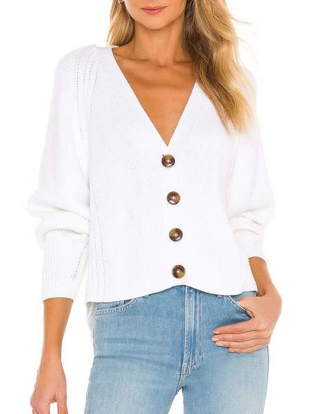 Autumn Cashmere Oversized Boxy V Shaker Cardigan - Bleach White