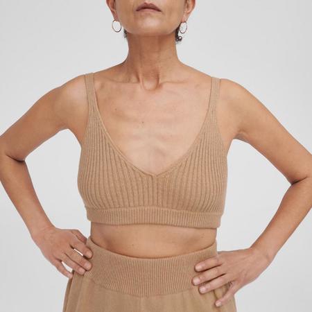 Mónica Cordera Ribbed Knit Top - Camel