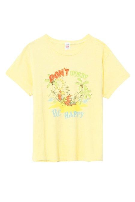 RE/DONE 70s Loose Tee Be Happy SHIRT - Lemon