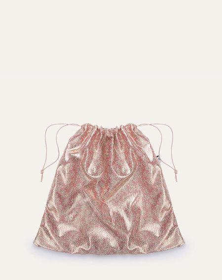 maria la rosa metallic pouch bag - gold rose