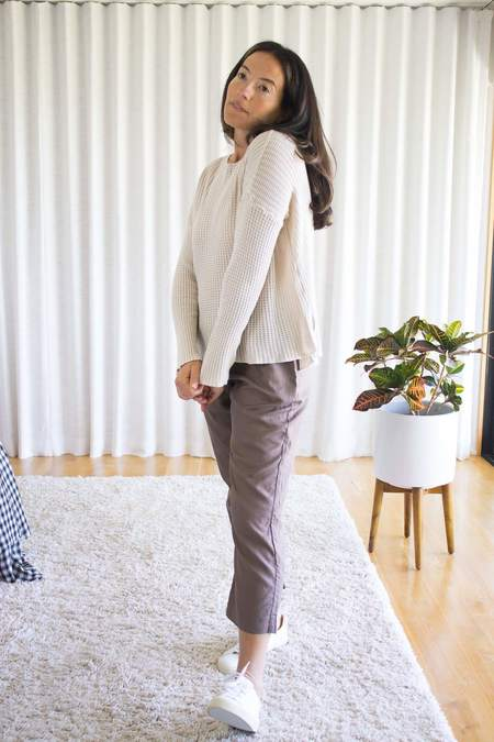 It Is Well L.A. Tencel Pointelle Sweater Top - Natural