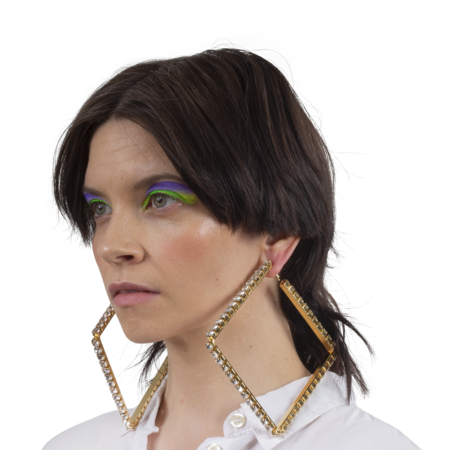"""Area 4"""" Large Classic Square Hoops - Gold/White Crystal"""