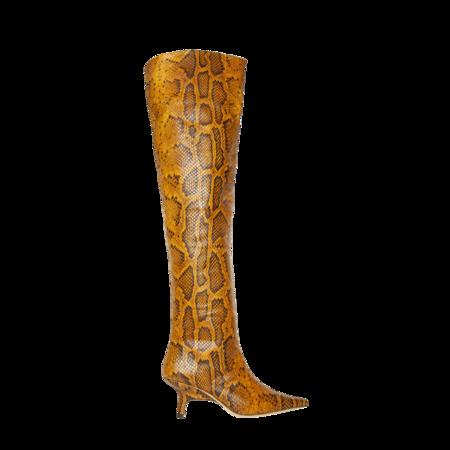 Rejina Pyo Ashley Leather Python-Effect Boot - Orange