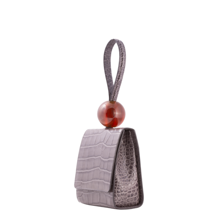 BY FAR Croco Embossed Leather Ball Bag - Grey