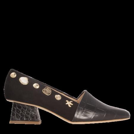 Rejina Pyo Cecilia Leather Emboss and Suede Heels - Black