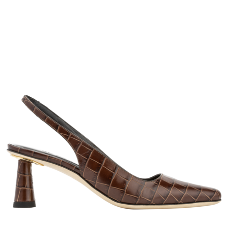 BY FAR Diana Croco Embossed Leather Slingback - Nutella