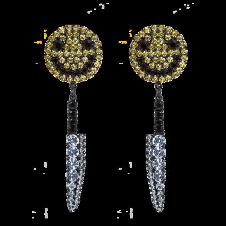 Ashley Williams Smiley Knife Clip-On Earrings - Multi Crystal