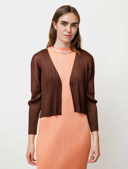 Pleats Please by Issey Miyake Bouquet Colours Cardigan - Cocoa