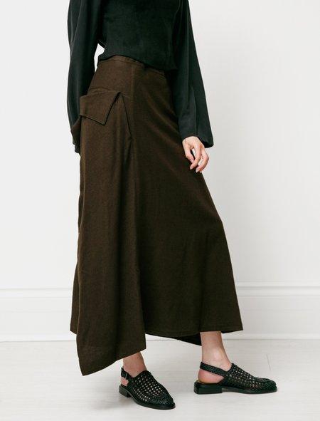 Drape Pocket Khaki Skirt - Brown